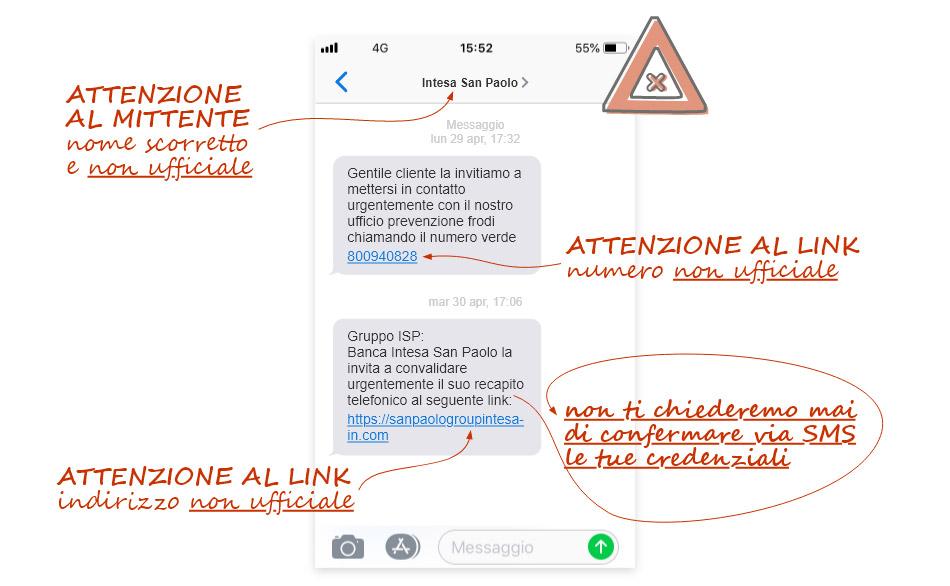 SMS Falso di Intesa SanPaolo